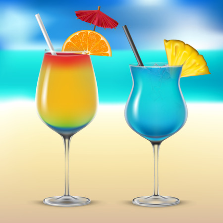 Set transparent vector cocktail glasses on the sea background