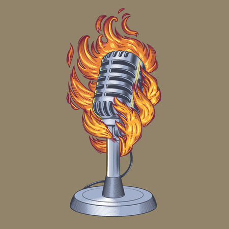 fervent: Vector illustration old microphone in flames, flaming microphone