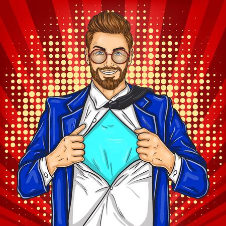 super dad: Vector pop art illustration of a super dad hero in retro style