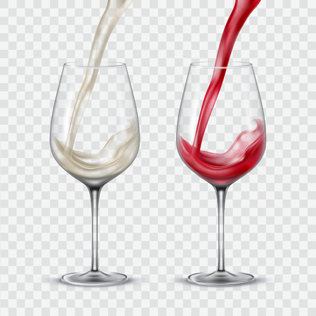 Set transparent vector glasses with white and red wine