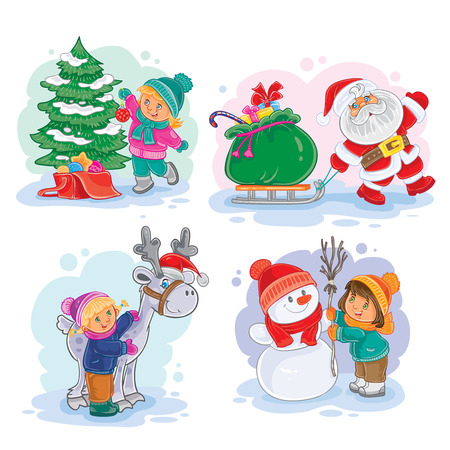 Set of vector icons small children decorate the Christmas tree, making a snowman, Santa Claus carries gifts