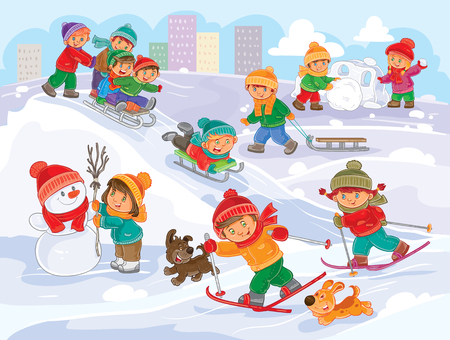 Vector winter illustration of small children mold snowmen, playing snowballs, sledding and skiing