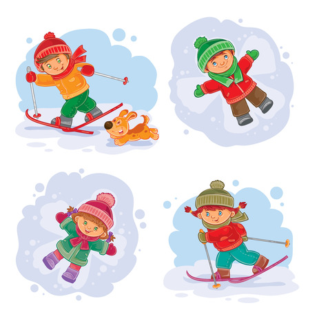 A set of vector icons of small children making a snow angel and skiing Illustration