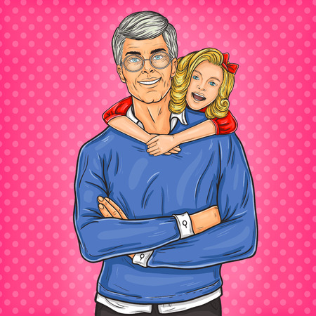 Vector illustration of a grandfather and his beloved granddaughter Illustration