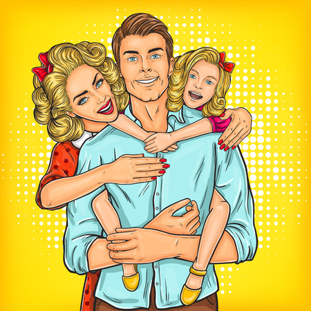 Vector illustration of a portrait of a happy family - father, mother and daughter