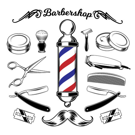 Vector monochrome collection barbershop tools. Engraving style Vektorové ilustrace