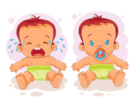 Vector illustration two baby in diapers - one cries, the other sucks a pacifier Illustration