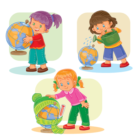 small girls: A set of vector icons of small girls playing with globe