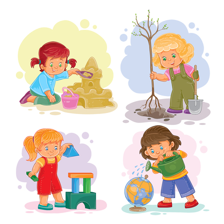 small girls: A set of vector icons of small girls playing with toys