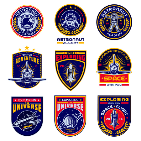 Set of vector icons of space. Elements of design, badges, logo and emblem on a white background. The concept of space travel 向量圖像