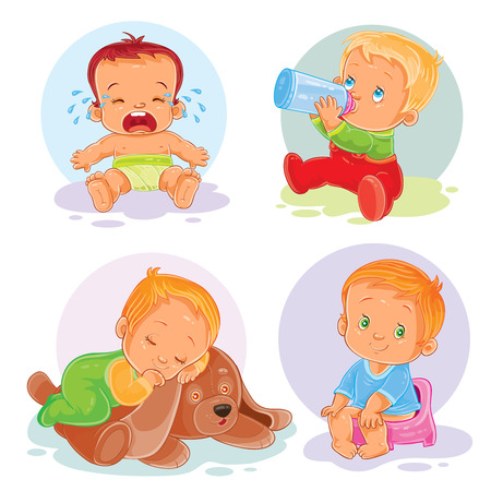 baby sitting: Set of vector icons of toddlers - crying, drinking milk from a bottle of sleeping, sitting on the pot