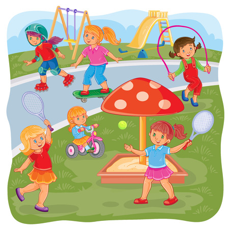 Vector illustration of a girls playing on the playground in tennis, jumping rope, skateboarding, roller skating and cycling Illustration