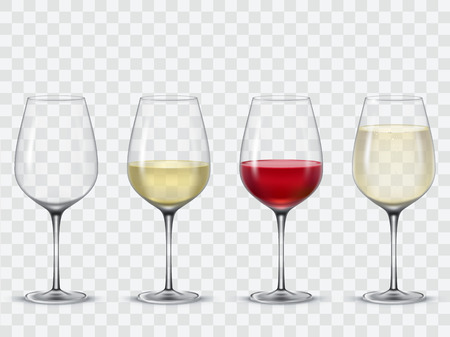 Set transparent vector wine glasses empty, with white and red wine.