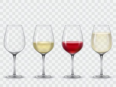Set transparent Vektor Weingläser leer, mit Weiß- und Rotwein.