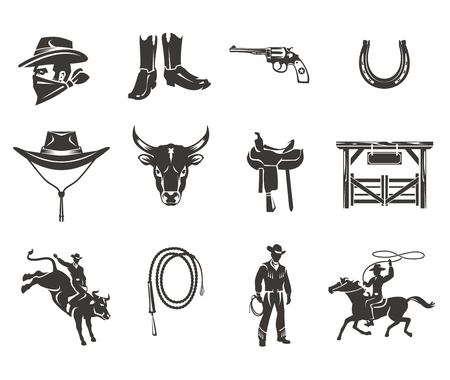 Set of vector rodeo icons, cowboys silhouettes riding the bull and horse and rodeo accessory isolated on white