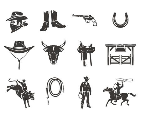 Conjunto de iconos del vector del rodeo, vaqueros siluetas montando el toro y el caballo de rodeo y accesorios aislados en blanco