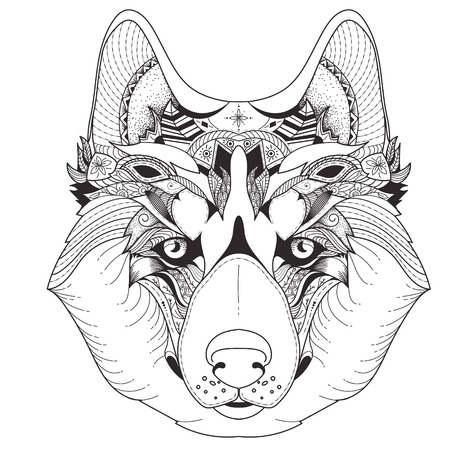 Vector illustration of husky with tribal mandala patterns. Use for print, t-shirts.