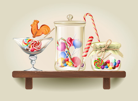 Vector illustration sweet candy, sweetmeats, lollipops and bonbon are in glass jars on wooden shelf