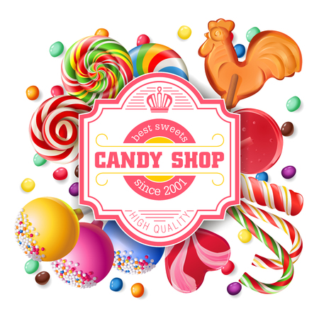 sweetmeats: Vector illustration background of sweet candy, sweetmeats, lollipops. Frame made of sweets.