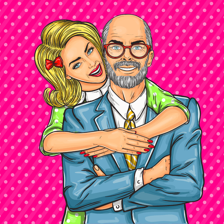 Vector illustration of a elderly father and his beloved daughter