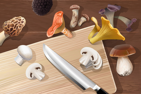 cep: Vector background with various kind of edible mushrooms on a wooden table, top view. Realistic style