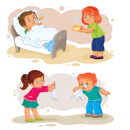 snot: Set of vector clip art illustrations little boy sick and compassionate girl