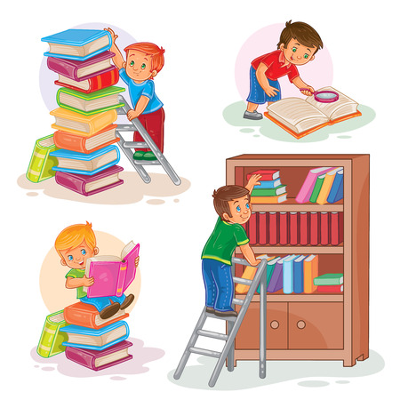 Set of vector icons of small children reading a book