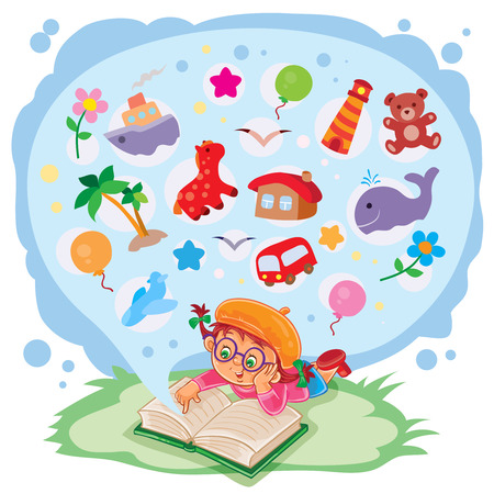 Vector illustration of small girl reading a book and dreams of adventures