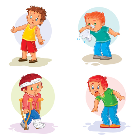 common cold: Set of vector icons little boy sick