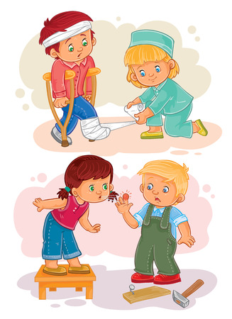 Set of vector clip art illustrations little boy sick and compassionate girl