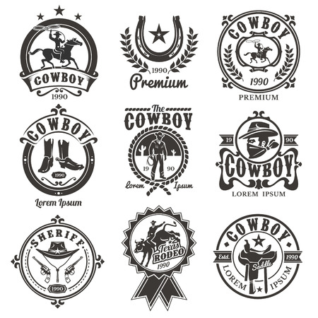 Set of vector rodeo logos, badges with cowboys silhouettes riding the bull and horse and rodeo accessory isolated on white