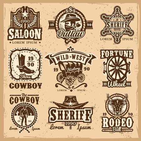 Ensemble de vecteur logos sauvages de l'ouest, badges avec cow-boy et les attributs de l'ouest sauvage isolé sur blanc