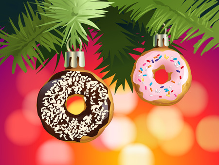 Vector illustration festive background with donuts - decorations for the Christmas tree