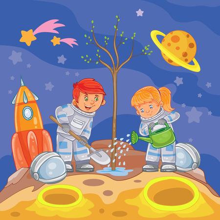 sembrando un arbol: Ilustración de un niño y niña astronautas plantar un árbol en un nuevo planeta