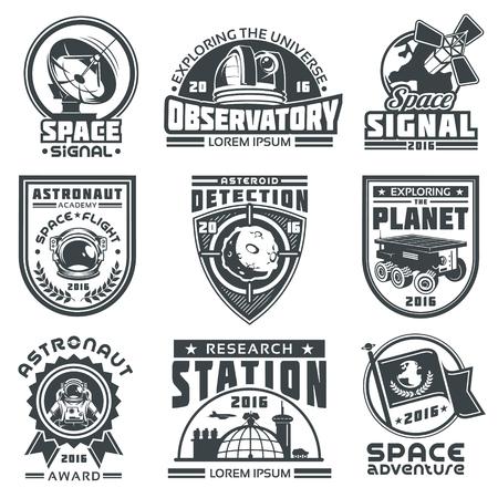 Conjunto de insignias vectoriales de espacio. Elementos de diseño, insignias, logotipo y emblema sobre un fondo blanco. El concepto de viaje espacial Logos