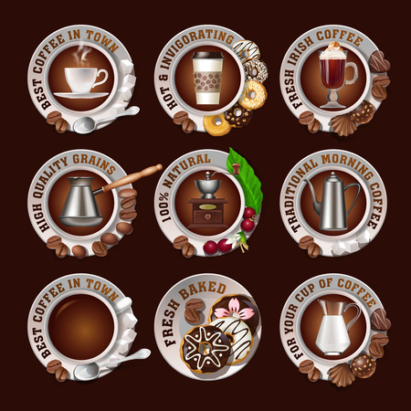 dough nut: Set of vector beautiful realistic badges of coffee isolated on white background.