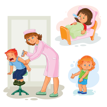 common cold: Set of vector icons little girl sick