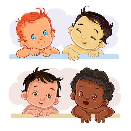 Set of vector clip art illustrations of little children of different nationalities
