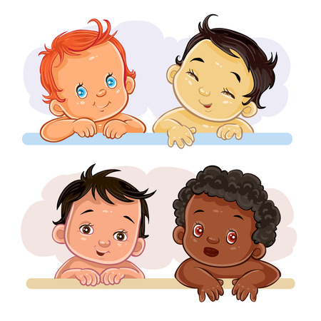 Set of vector clip art illustrations of little children of different nationalities