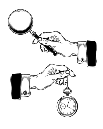 watch glass: Vector illustration set of icons of mens hands holding a magnifying glass and a watch on a chain. Engraving style.