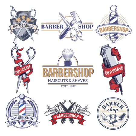 hair clippers: Vector collection badges, logos with barbershop tools.