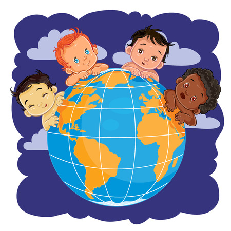 Vector illustration of young children of different nationalities located around the globe