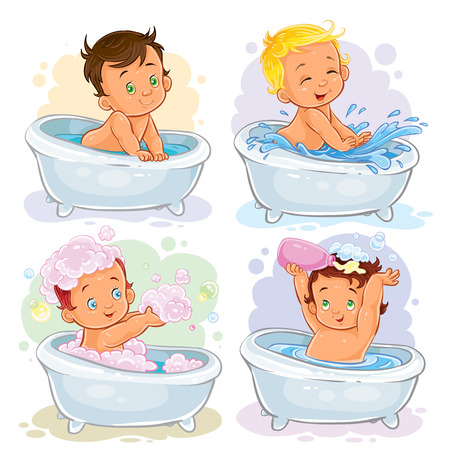 Set of vector icons of small children take a bath isolated on white