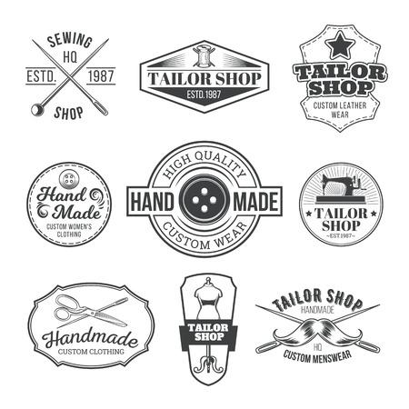 signage: Set of vector vintage tailor emblem, signage Illustration