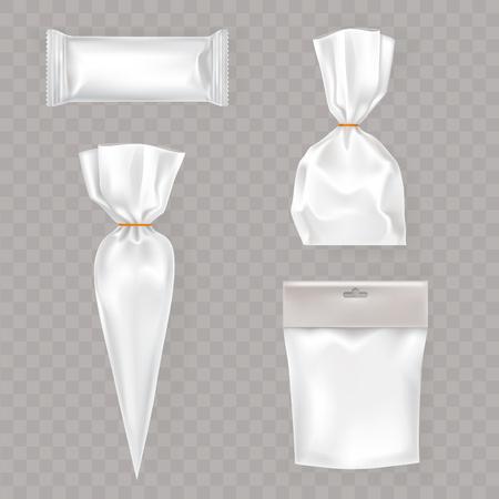 la recogida de vectores maqueta, envases para alimentos y productos de aperitivo. Diseño del modelo del paquete para la marca. Ilustración de vector