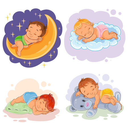 Set of vector clip art illustration babies sleep, isolated on white