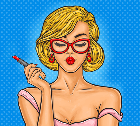Vector pop art illustration woman paints her lips.