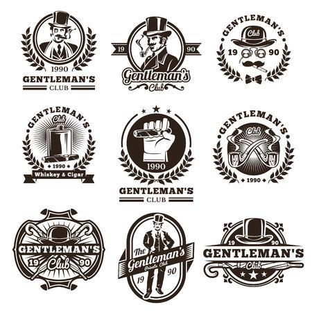 Set of vector vintage gentleman emblems, labels, icons, signage and design elements. Engraving style.