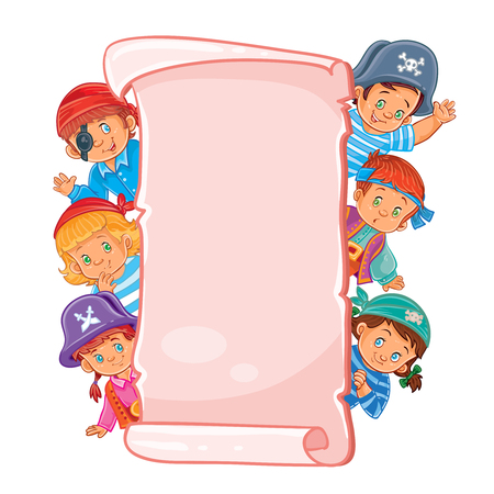 niños platicando: Vector poster with young children in carnival clothing, looking out of frame
