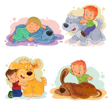 basset: Collection of vector clip art illustrations of little boys and their dogs
